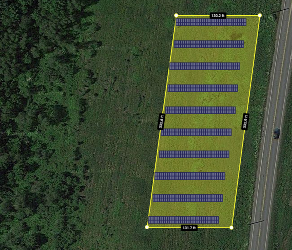An overlay shows how a solar farm on land along Route 32 in China will look as approved Tuesday night by the Planning Board. The community solar farm will have up to 650 panels.