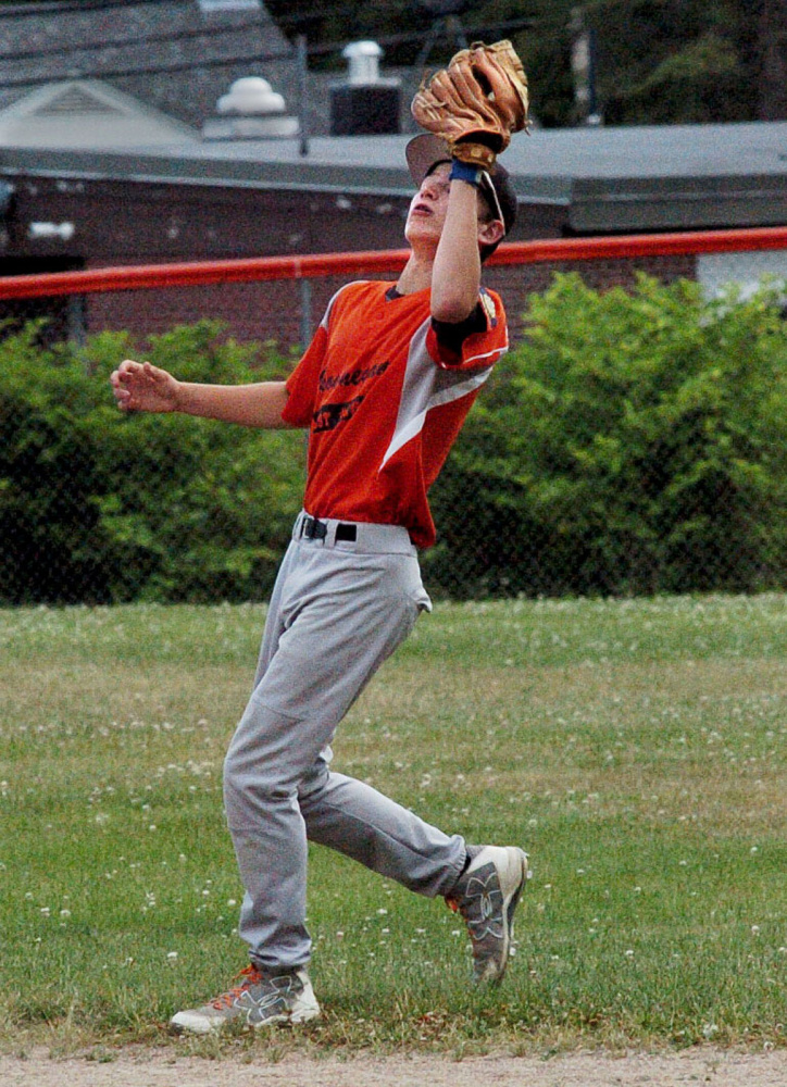 Skowhegan's Josh Brown catches a fly ball during a junior American Legion game Tuesday against Messalonskee at Memorial Field in Skowhegan.