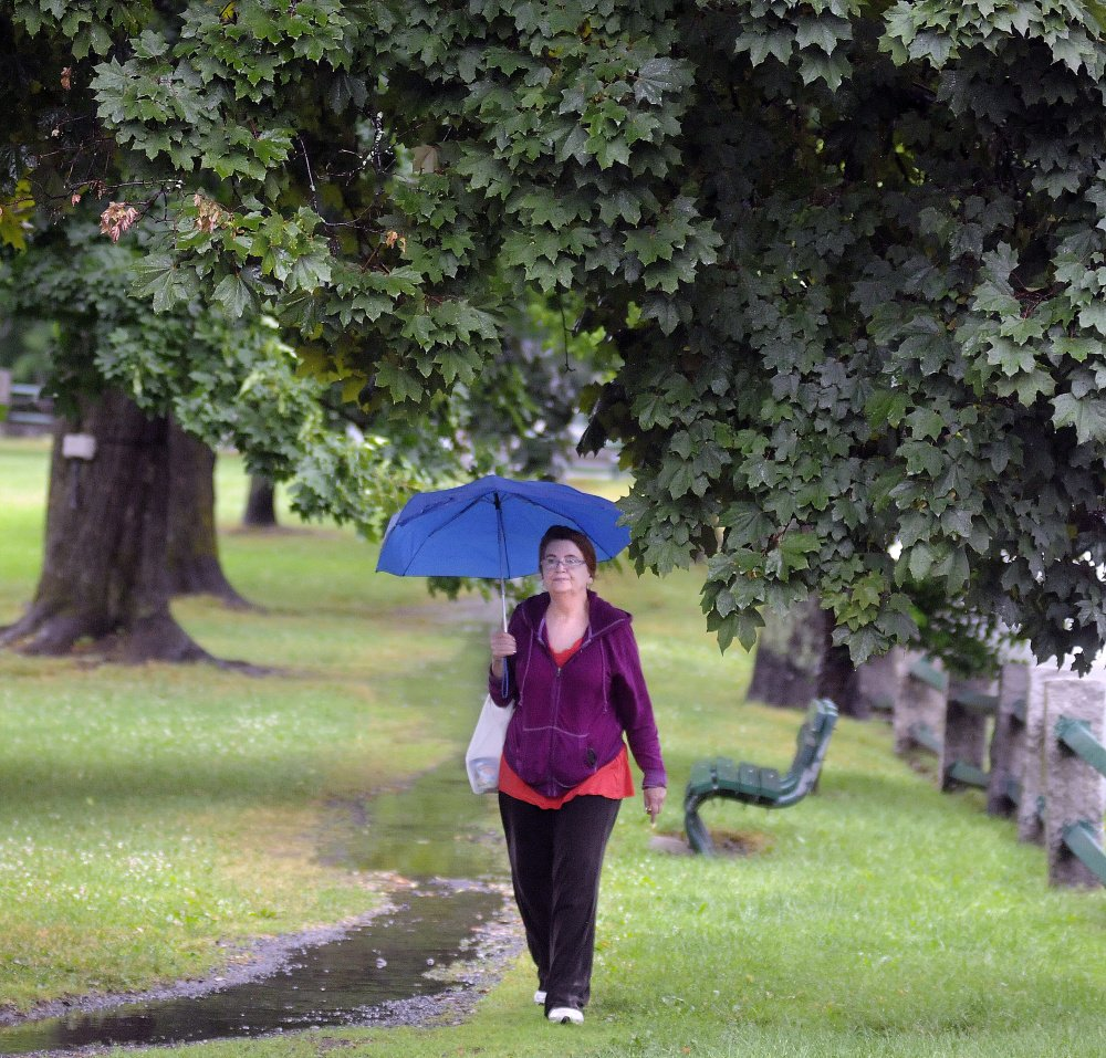 "Jaye Chute strolls on Wednesday beneath maples during a downpour at the Gardiner Common. The rain, she said, got her motivated. ""That's why I'm out here,"" Chute said."