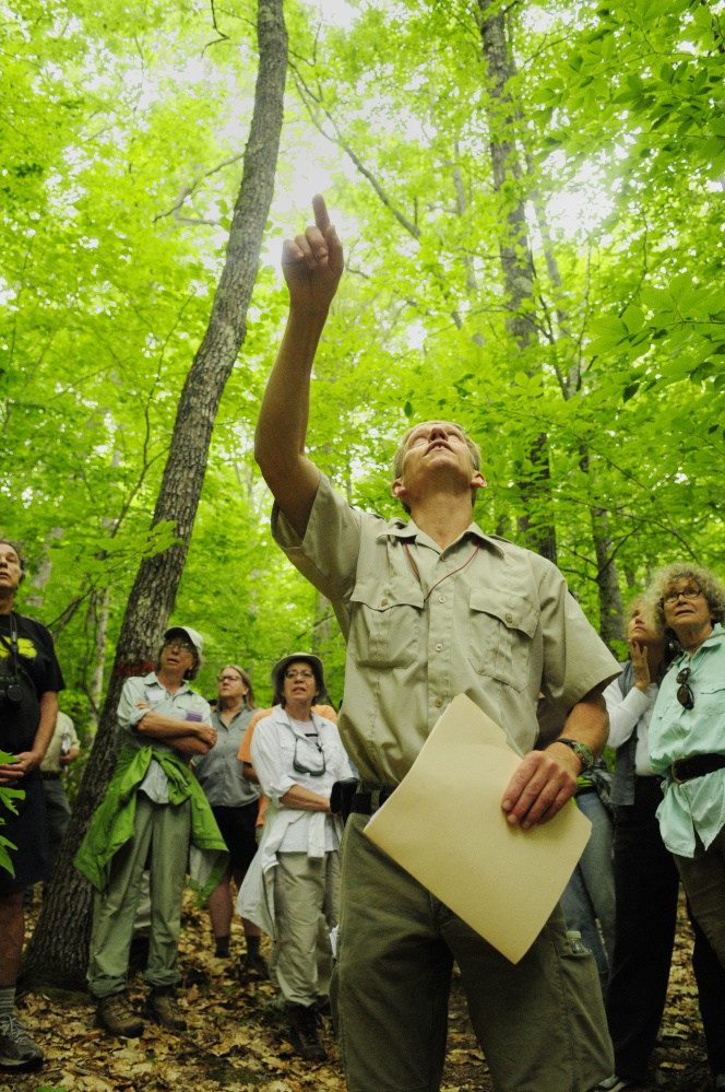 Department of Inland Fisheries and Wildlife Forester Eric Hoar give a tour Tuesday of areas that will be cut at Jamies Pond Wildlife Management Area in Hallowell.