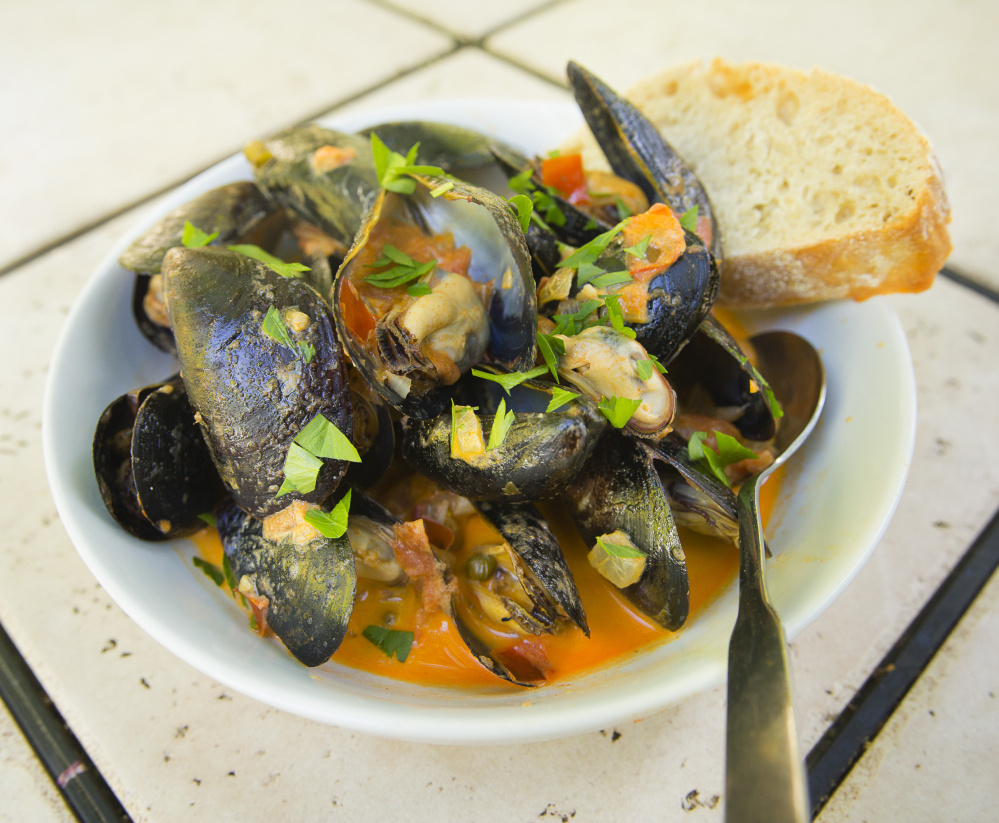 Smokey Mussels with Thyme Tomatoes and Cream.