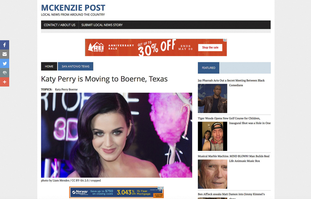Three Web pages falsely announce singer Katy Perry's move to three different locations. Fake news websites make money for each click on a page and are often not taken to court because their content meets the definition of satire and parody, protected by the right to free speech.