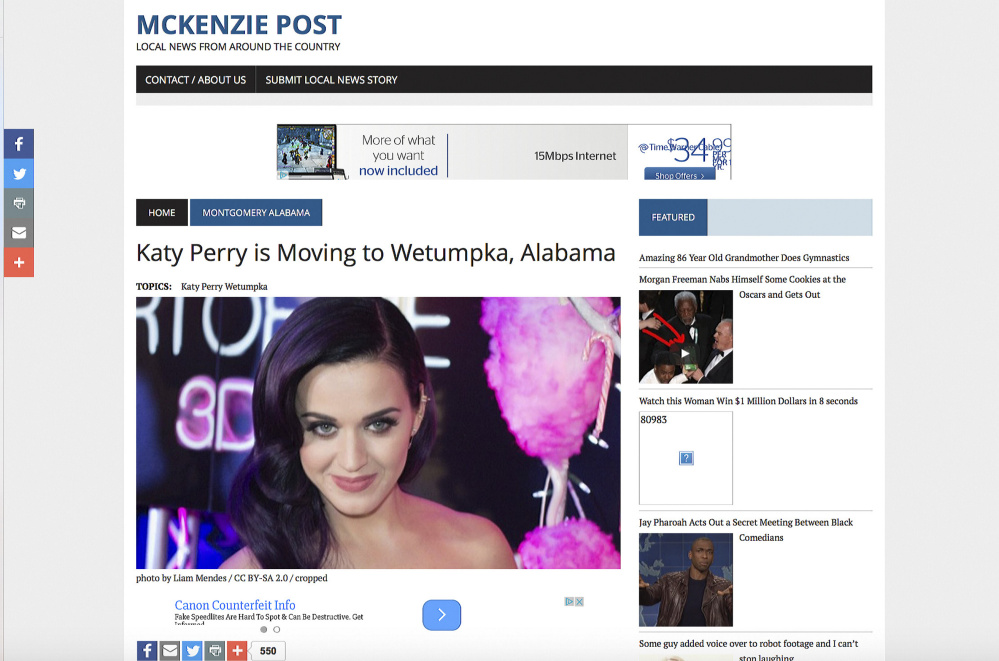 Fake news story: Katy Perry is Moving to Wetumpka, Alabama