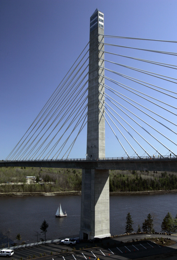 About 117 miles northeast of Portland, the Penobscot Narrows Bridge elevator lifts passengers 42 stories, offering stunning views of the ocean, islands and forests. Over 200 passengers have had to trudge down 25 flights on 20 separate occasions.