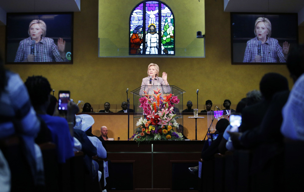 Democratic presidential candidate Hillary Clinton speaks Sunday at the Greater St. Paul Church in Oakland, Calif.