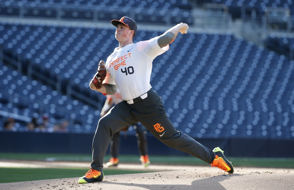 Jason Groome pitches during the Perfect Game All-American Classic high school baseball game on Aug. 16, 2015, in San Diego. Groome was chosen 12th overall by the Red Sox on Thursday.