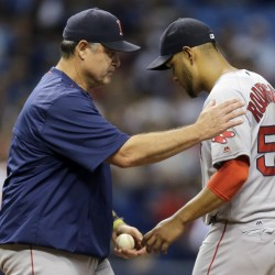 Red Sox manager John Farrell takes the ball from starting pitcher Eduardo Rodriguez in the third inning Monday night in in St. Petersburg, Fla.