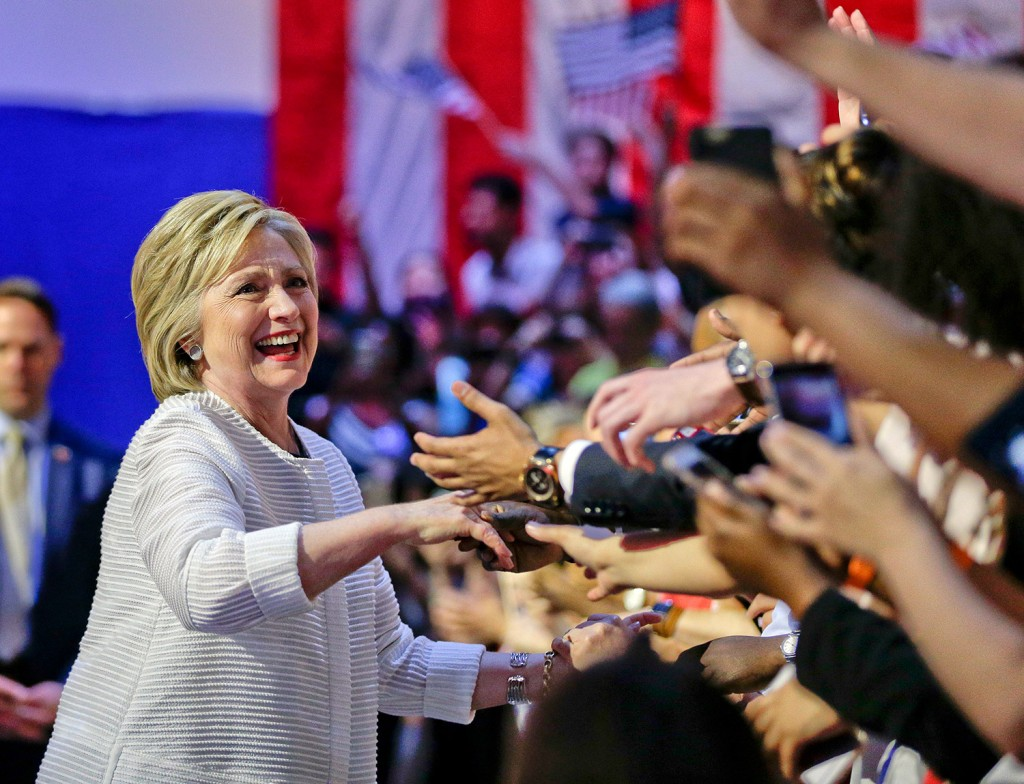 Democratic presidential candidate Hillary Clinton greets supporters as she arrives to speak during a presidential primary election night rally Tuesday in New York.