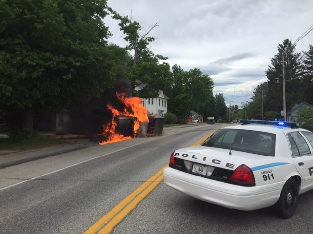 Two Central Maine Power workers pulled a man from his truck after it hit a utility pole in Bridgton on Thursday. The crash pulled down wires and set the truck ablaze.
