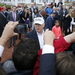 """The presumptive Republican presidential nominee  Donald Trump  speaks after he arrived by helicopter at his revamped Trump Turnberry golf course in Turnberry Scotland Friday June 24, 2016. Trump saluting the United Kingdom's vote to leave the European Union, saying """"they took back their country, it's a great thing."""" Trump arrived at his Turnberry golf course in Scotland a day after the so-called Brexit vote. (Andrew Milligan/PA via AP)"""
