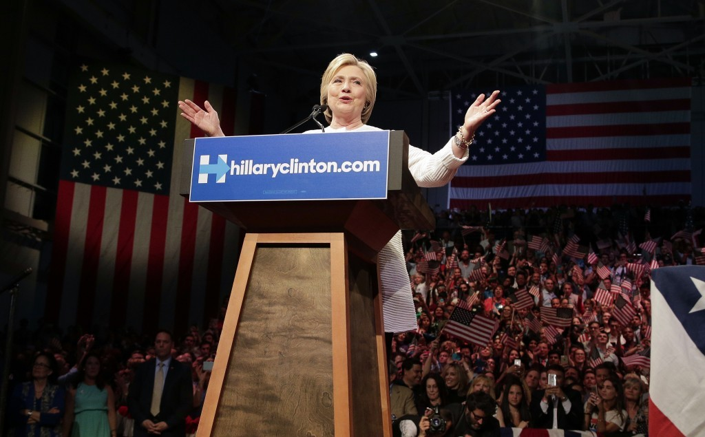 Democratic presidential candidate Hillary Clinton speaks during a presidential primary election night rally on Tuesday.