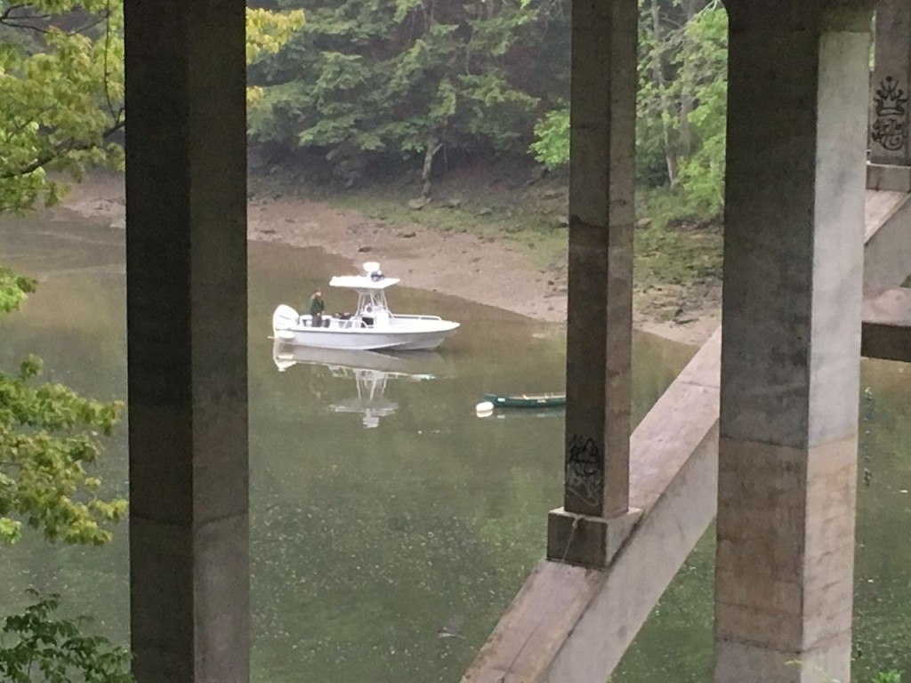 Authorities resume search efforts  Friday morning for the body of a 16-year-old boy who fell into the Presumpscot River Thursday when his kayak capsized. The search is centered around an area of the river beneath the Allen Avenue bridge in Falmouth. Photo by Karen Beaudoin