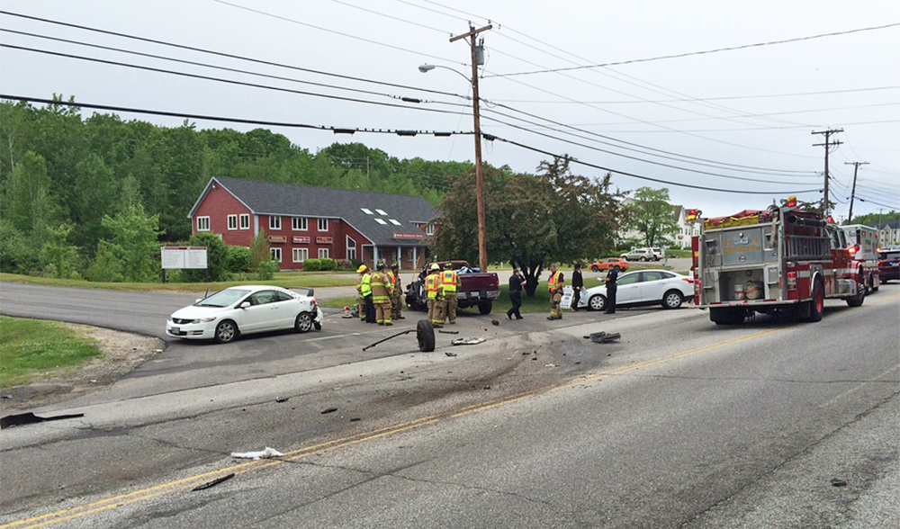 This photo of the crash scene was posted on Twitter by Windham police at about 9 a.m. Monday.