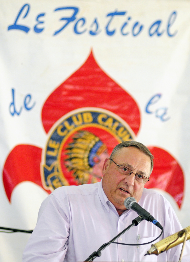 Gov. Paul LePage speaks at the Festival de la Bastille on July 11, 2014 in Augusta. LePage has confirmed that he will participate in the festival this year as well.
