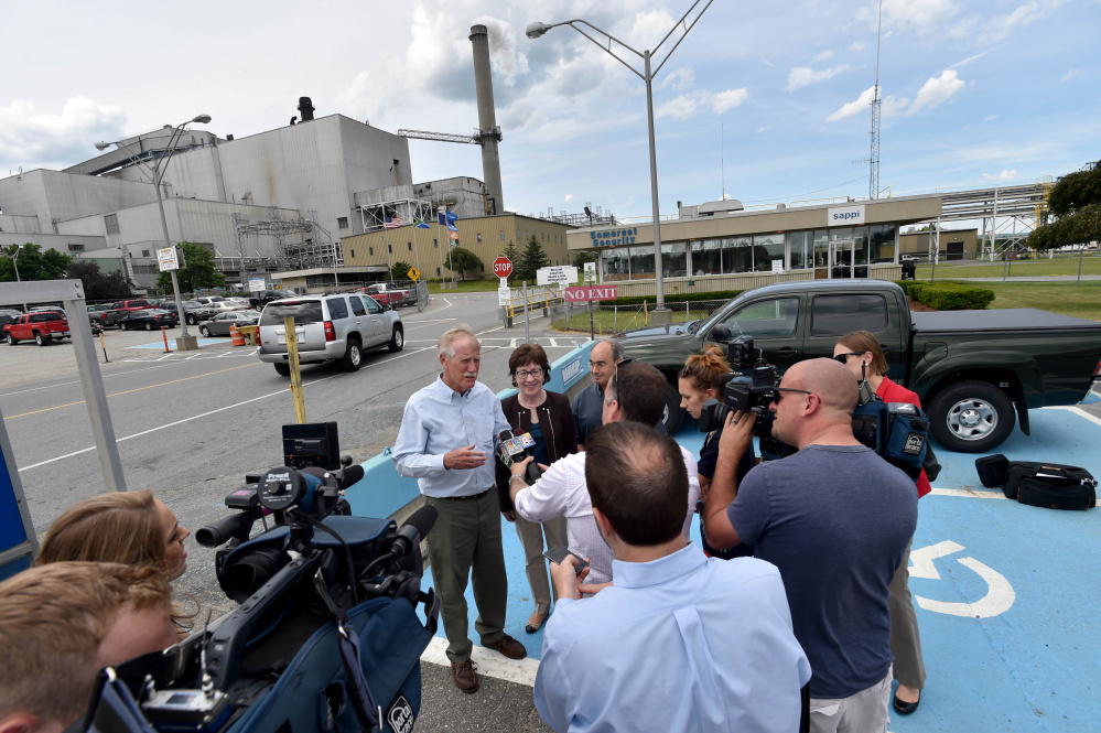 From left, Sen. Angus King, Sen. Susan Collins and Rep. Bruce Poliquin speak to reporters Friday after a tour of Sappi Fine Paper in Skowhegan.