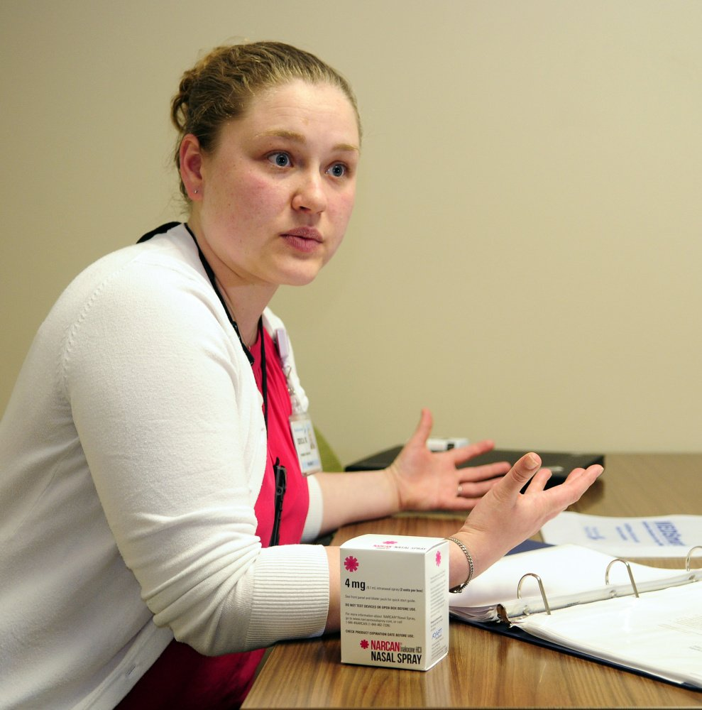 Erica Wegrzyn, a pharmacy resident, talks about the pilot Narcan program during an interview last month at MaineGeneral Medical Center in Augusta.