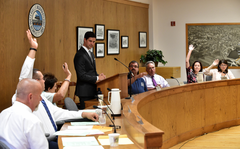 The Waterville City Council votes on budget items June 21 as Mayor Nick Isgro officiates. The council is scheduled to take a final vote on the $38 million budget Tuesday night.