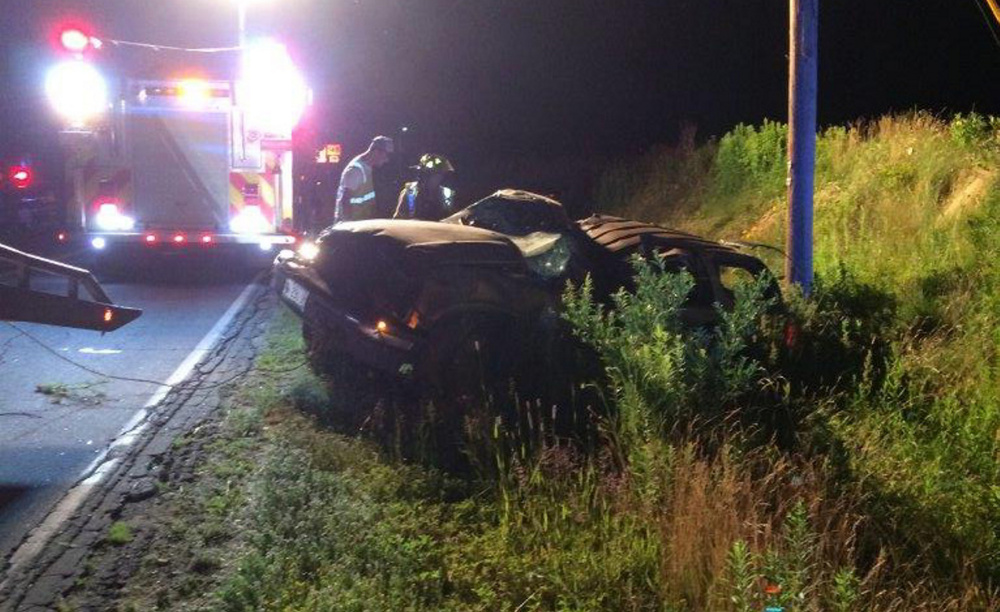 Two people were injured when an SUV driven by Peter McAnistan, of Anson, went off Starks Road on Monday night in Anson. McAnistan and his passenger, Rebecca Cole, also of Anson, were taken to hospitals. Police said speed and alcohol may have been factors in the crash, which is under investigation.
