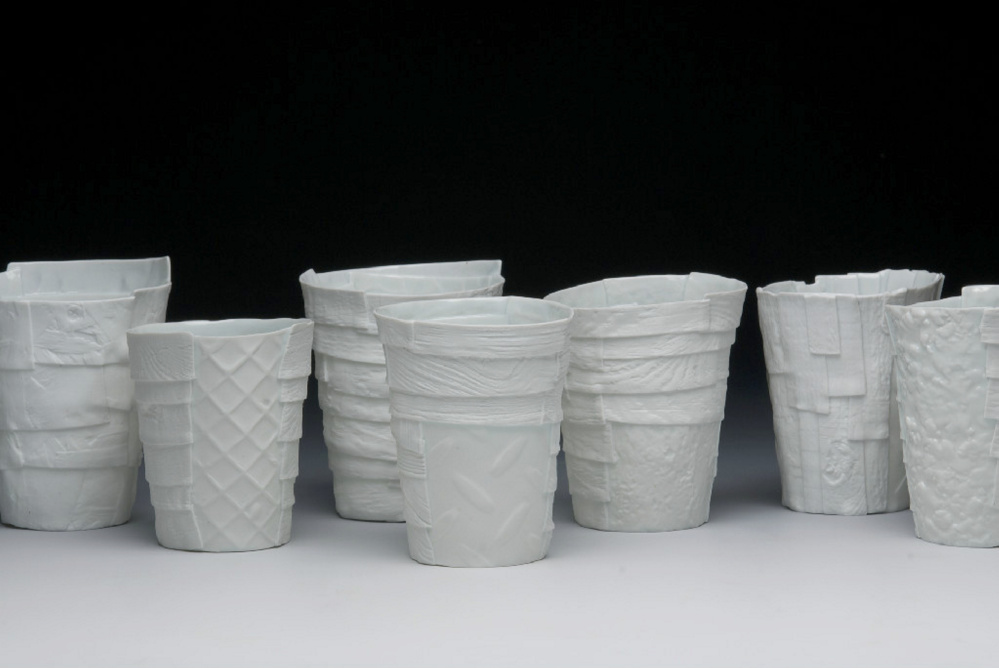 Cups by objective clay artist Bryan Hopkins.