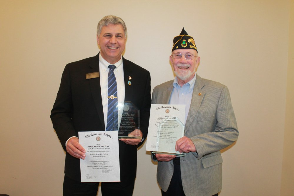 Sen. Scott Cyrway, R-Benton, left, and Rep. Thomas Longstaff, D-Waterville, were named American Legion Legislators of the Year at the Legion's annual state convention in June.