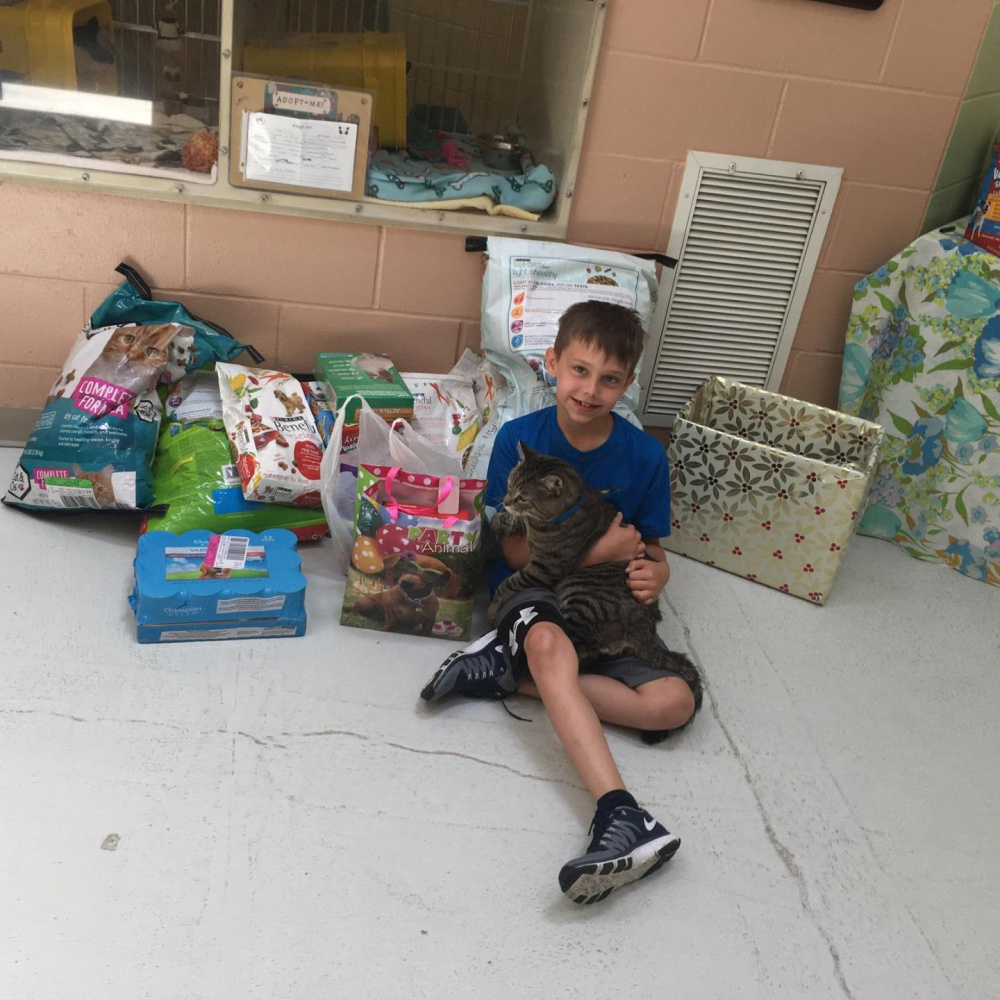 Zack Waddell, 9, of Augusta, decided, in lieu of presents at his 9th birthday party, to ask for donations for the animal shelter.