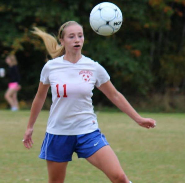 Cassidy Charette, seen her playing for Messalonskee High School as a sophomore, wore No. 11 during her soccer career.