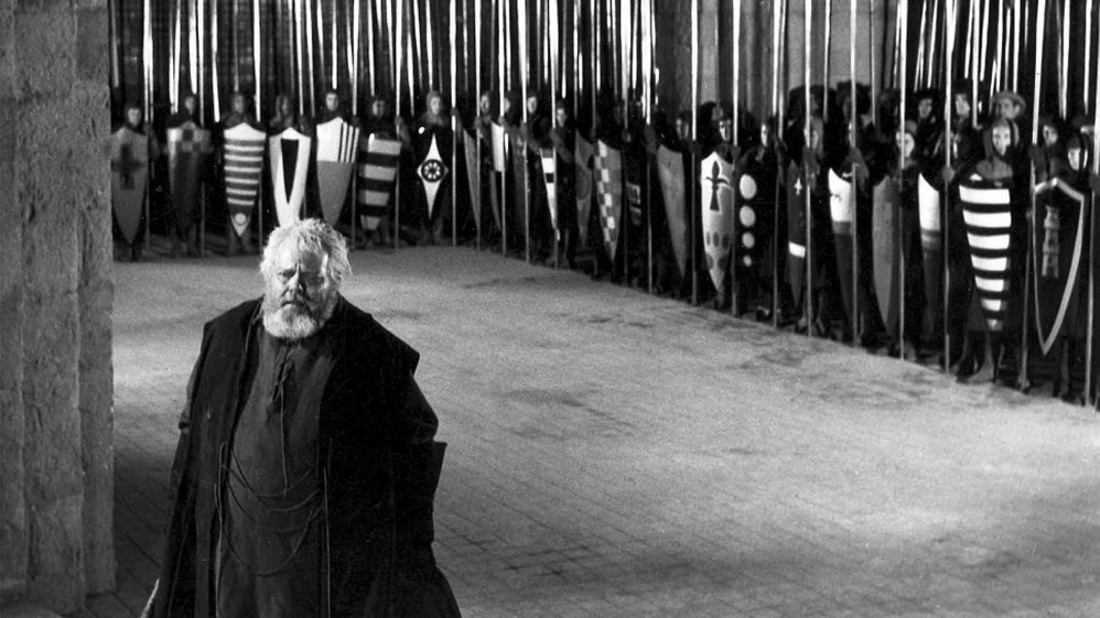 "Orson Welles directs and stars in ""Chimes at Midnight,"" which shows Sunday at the Waterville Opera House."