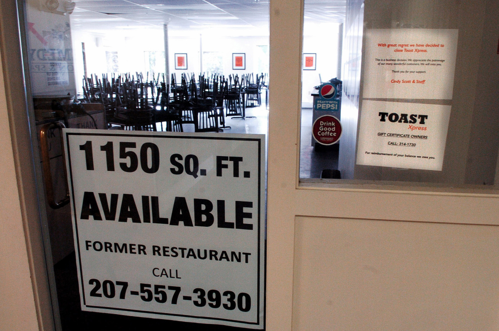 The Toast Express restaurant at Railroad Square in Waterville, which opened 10 months ago, has closed for business.
