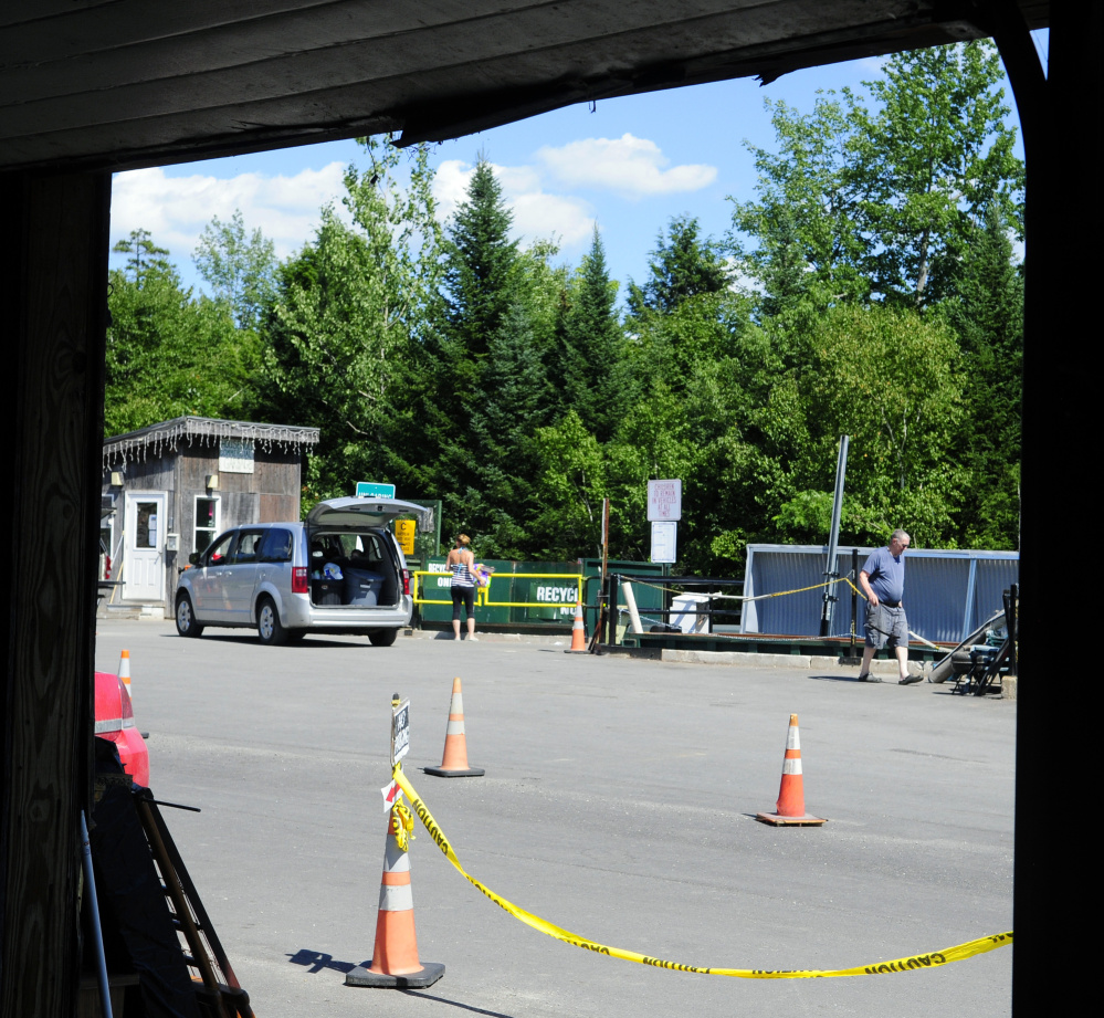 People drop off items Wednesday at the Readfield Transfer Station, where video surveillance cameras will be installed soon.