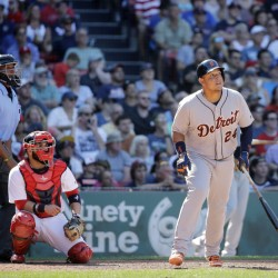 Detroit's Miguel Cabrera watches his solo homer along with Boston catcher Sandy Leon in the ninth inning Wednesday at Fenway Park in Boston. The home run gave the Tigers a 4-3 win.