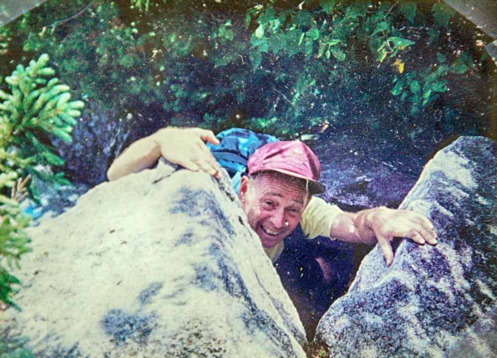 This contributed 1991 photo shows Alfred Jacobs, then 71 years old, climbing Mt. Katahdin.