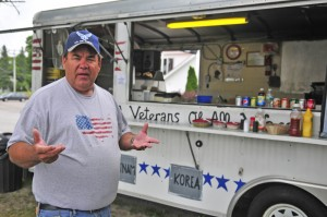 John Brennan, a Persian Gulf War veteran who helps oversee the American Legion Auxialary lunch wagon, talks about recent vandalism to the snack shack during an interview Friday on the shore of Maranacook Lake in Winthrop.