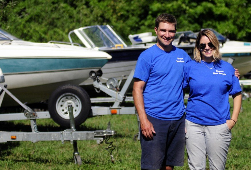 Owners Andrew Hench and Kristin Angell at Beacon Boat Rental on Saturday in Wayne.