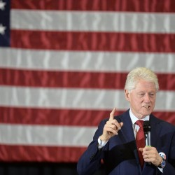 Former President Bill Clinton addresses a crowd of about 1,200 at Erie Hall at Penn State Behrend in Harborcreek Township, Pa., in April.