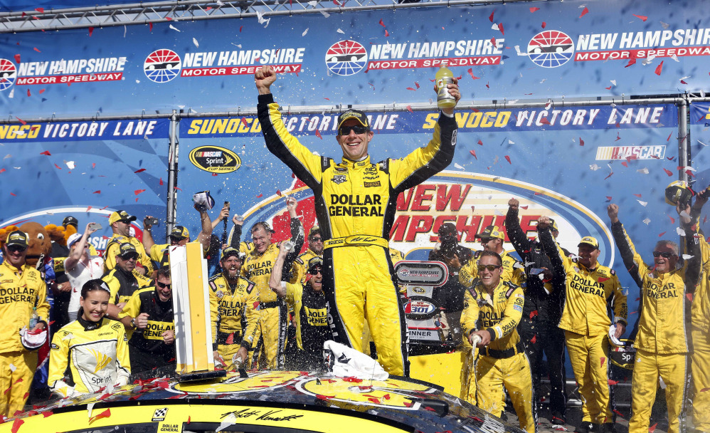 Matt Kenseth celebrates after his Sprint Cup victory Sunday at New Hampshire Motor Speedway.