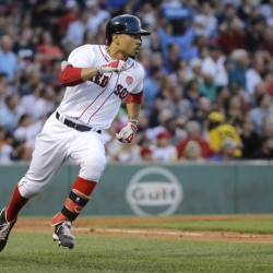 Mookie Betts runs to first  in the third inning Thursday in Boston. (AP Photo/Elise Amendola)