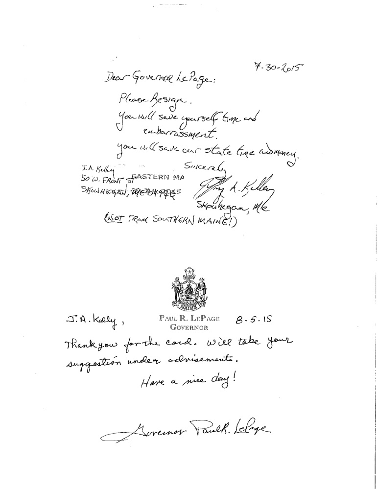 A 2015 exchange of handwritten notes between Gov. LePage and a citizen