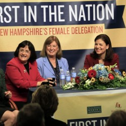 The five women holding New Hampshire's top political offices, from left, Democratic Gov. Maggie Hassan, U.S. Rep. Ann McLane Kuster, D-N.H., Carol Shea-Porter, D-N.H., U.S. Sen. Kelly Ayotte, R-N.H., and U.S. Sen. Jeanne Shaheen, D-N.H., discuss what their lives are like as female politicians at the Institute of Politics at Saint Anselm College in Manchester, N.H. All three northern New England states do better than the national average in electing women to their state Legislatures.