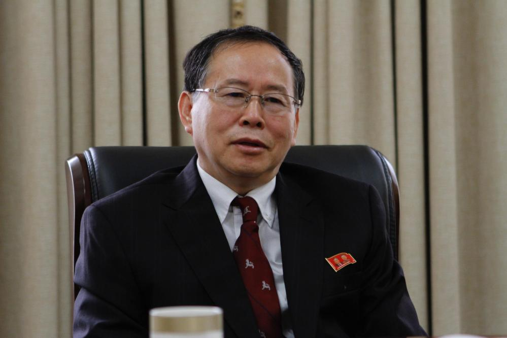 """Han Song Ryol, director-general of the U.S. affairs department at North Korea's Foreign Ministry, says Washington """"crossed the red line"""" and effectively declared war by putting leader Kim Jung Un on its list of sanctioned individuals."""
