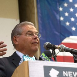 "U.S. Sen. Bob Menendez, D-N.J., speaks to New Jersey's Democratic delegates to the Democratic National Convention during a breakfast on Thursday in Philadelphia. Menendez said that Republican presidential nominee Donald Trump's comments about Russia exposing Democratic presidential candidate Hillary Clinton's emails are an ""act of treason."""