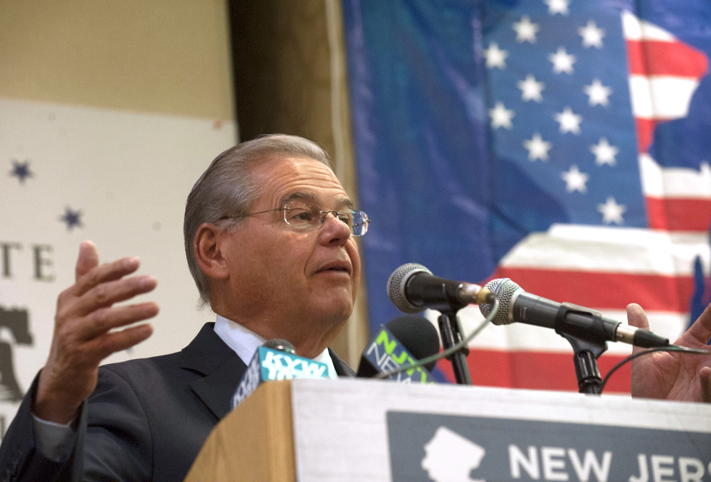 U.S. Sen. Bob Menendez, D-N.J., speaks to New Jersey's Democratic delegates to the Democratic National Convention during a breakfast on Thursday in Philadelphia. Menendez said that Republican presidential nominee Donald Trump's comments about Russia exposing Democratic presidential candidate Hillary Clinton's emails are an