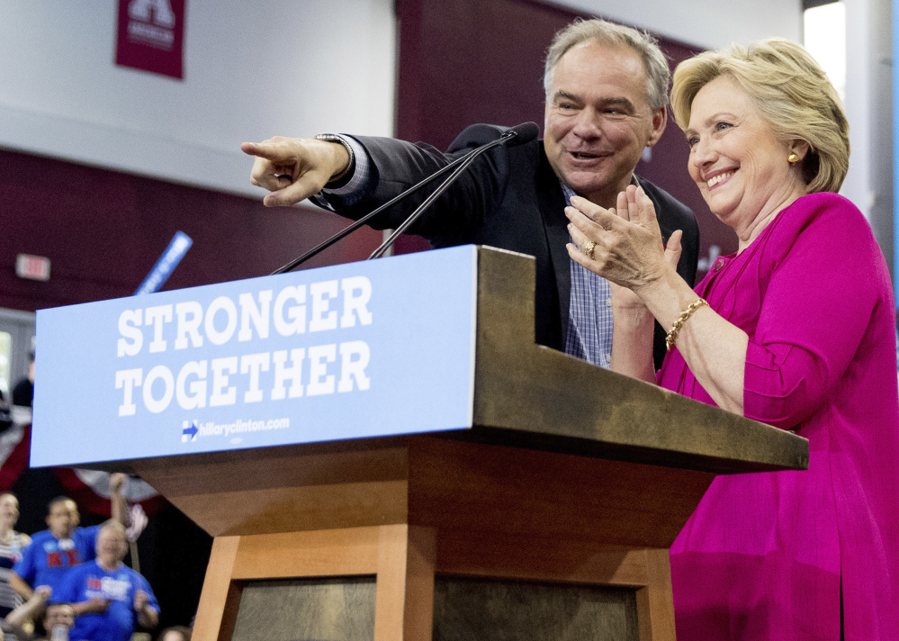 Hillary Clinton and Tim Kaine at Temple University in Philadelphia in July.