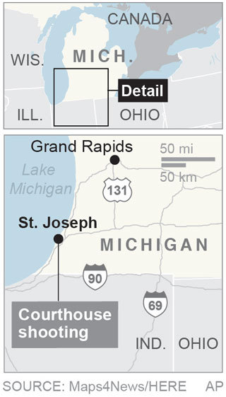 Map St. Joseph, Michigan, site of a shooting; 1c x 3 1/4 inches; 46.5 mm x 82 mm;