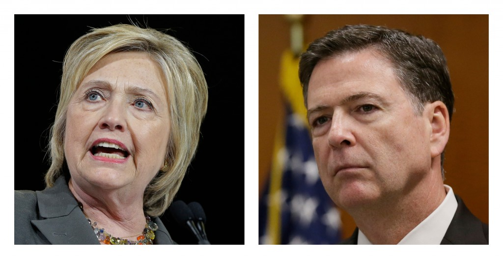 Democratic presidential candidate Hillary Clinton and FBI Director James Comey