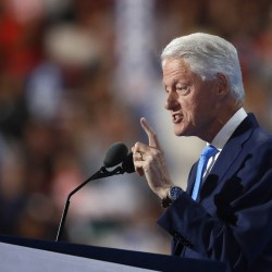 Former President Bill Clinton talks about meeting Hillary Rodham Clinton during the DNC on Tuesday. Associated Press/Paul Sancya