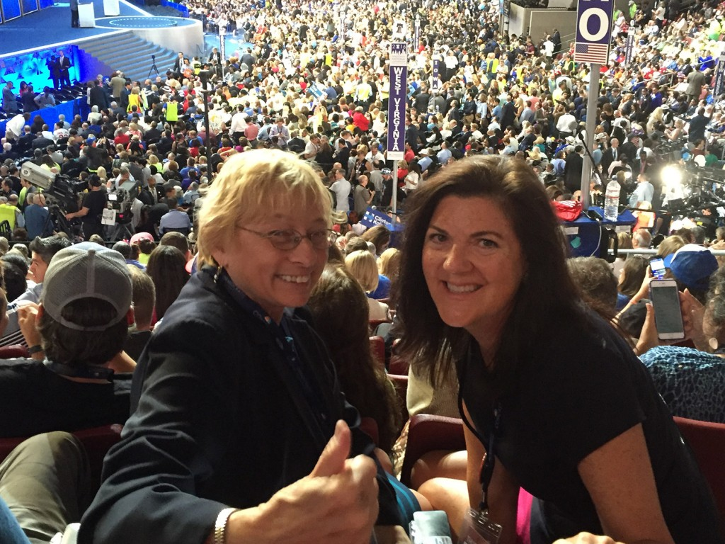 Clinton delegate Maine Attorney General Janet Mills and superdelegate Maggie Allen of Madison are among the Maine contingent at the Democratic National Convention in Philadelphia on Thursday.