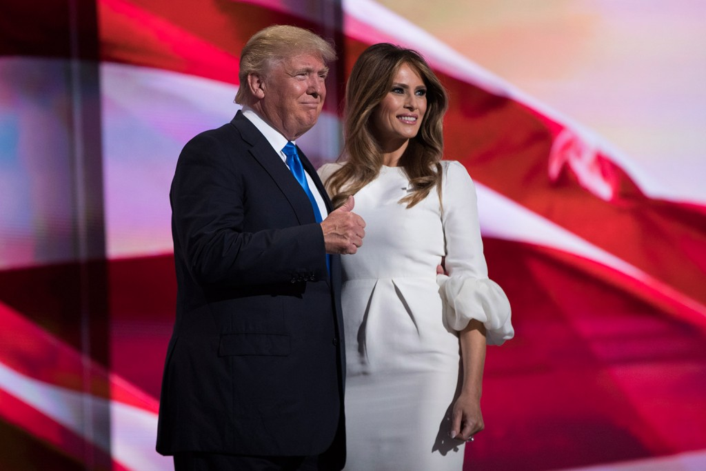 "Donald Trump gives a thumbs-up after his wife, Melania, spoke during the Republican National Convention on Monday night in Cleveland. She told the crowd, ""I have been aware of his love for this country since we first met."" Associated Press/Evan Vucci"
