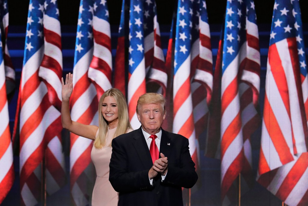 Ivanka Trump waves and walks off the stage after introducing her father for his acceptance speech Thursday night at the Republican National Convention in Cleveland. Associated Press/J. Scott Applewhite