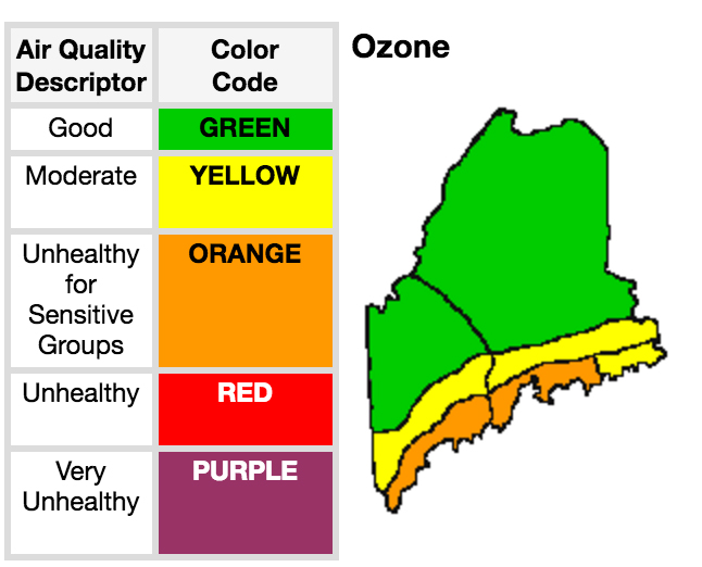 The Maine Department of Environmental Protection's air quality forecast for Friday, July 22, 2016.