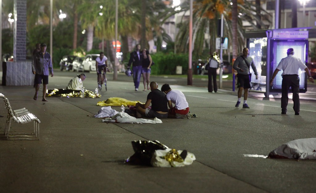 Bodies lie on the ground in Nice, France, after a truck ran into a crowd celebrating Bastille Day.
